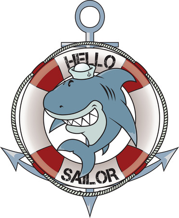 great white: funny looking great white shark with sailor hat isolated