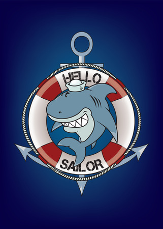 Hello sailor.funny looking great white shark with sailor hat Vector