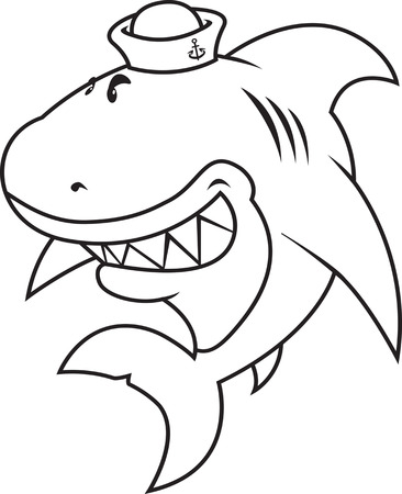 great white: funny looking great white shark with sailor hat.coloring book