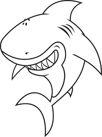 vicious: Happy,silly looking shark coloring book illustration Illustration