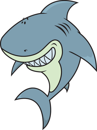 cartoon water: Happy,silly looking great white shark illustration isolated