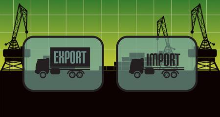 export and import: Signos de importaci�n exportaci�n, s�mbolos Vectores