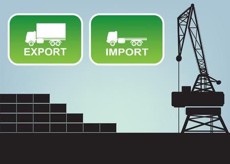 export and import: Exportaci�n signos de importaci�n, ilustraci�n vectorial s�mbolos Vectores