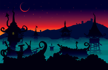 Fantasy imaginary night scene illustration
