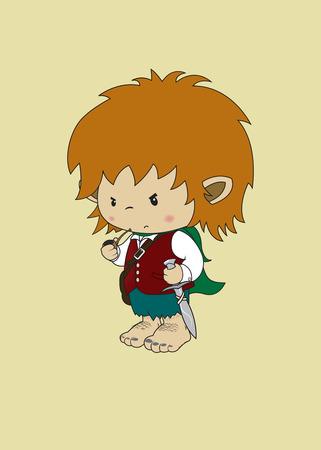 Angry but cute looking hobbit fantasy character 일러스트