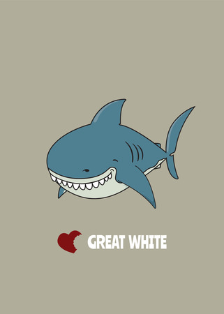Love Great white.cute funny looking Great white shark Illustration