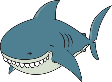 great white: Cute funny looking Great white shark isolated
