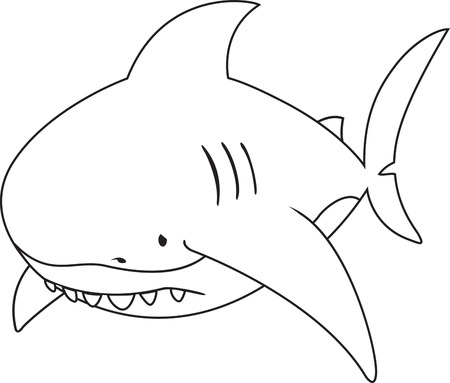 great white: Sad looking great white shark.coloring book