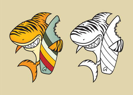 shark teeth: Funny tiger shark with surfboard coloring book illustration