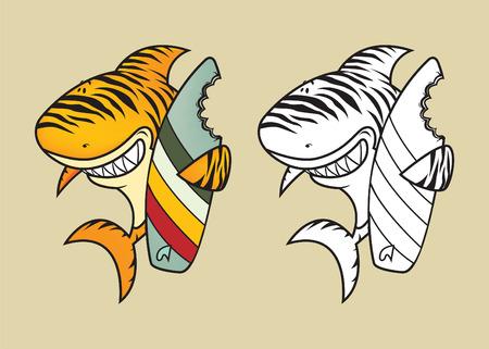 tiburon caricatura: Tibur�n tigre divertido con la ilustraci�n de libros para colorear tabla de surf