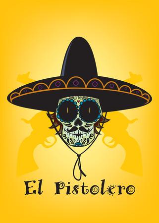 Mexican sugar skull with sombrero and mustache Vector