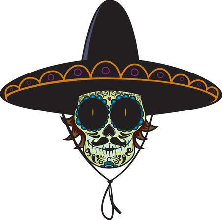 Dode gunman.Mexican suiker schedel geïsoleerd op wit Vector Illustratie