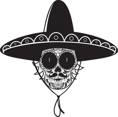 azucar: Cráneo del azúcar gunman.Mexican Dead aislado en blanco