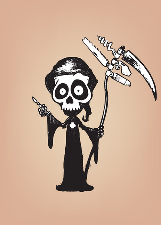 swiss: Swiss Reaper.Funny looking cartoon character