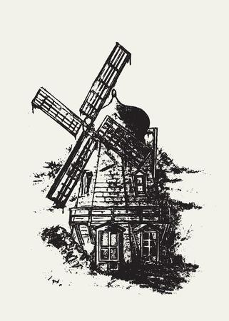 Oude Nederlandse molen. Potloodtekening vector illustratie