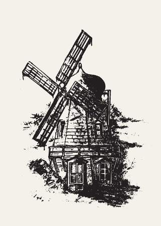 Old Dutch windmill. Pencil drawing vector illustration