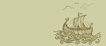 drakkar: Viking ship. Viking ship at the stormy sea.pencil drawing illustration