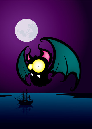 nosferatu: Bat.Funny looking cartoon character.Night scene Illustration