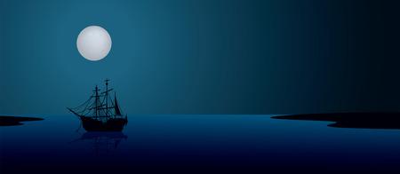 doomed: Ship under the moonlight. Night scene landscape illustration
