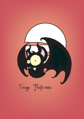 Young Nosferatu.Funny looking bat,imaginary cartoon character. Illustration