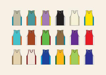 athletic wear: Basketball jersey set. Set of 18 basketball jerseys.Vector illustration Illustration