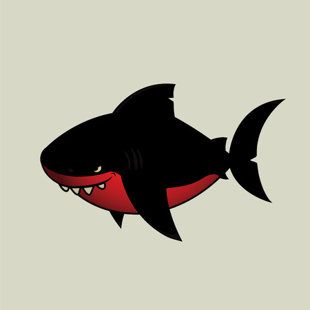 avenger: Black shark.Imaginary black and red mean looking cartoon character,isolated Illustration