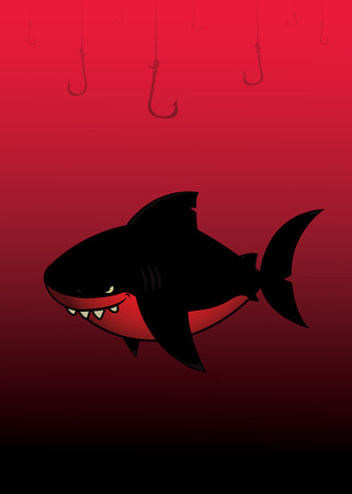 mean: Black shark.Imaginary black and red mean looking cartoon character.