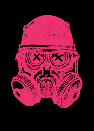 nuclear fear: Pink gas musk skull with helmet. Pencil drawing illustration,isolated on black