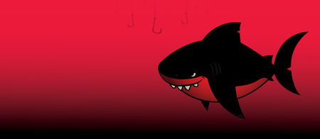 avenger: Negro shark.Imaginary media mirando personaje negro y rojo de dibujos animados.