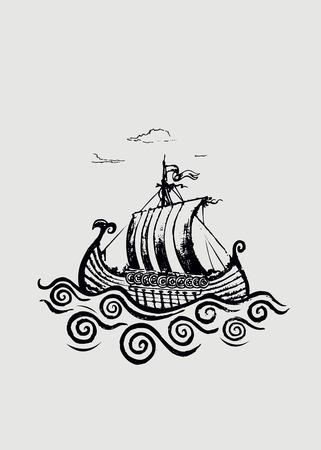 Viking ship.Pencil drawing illustration