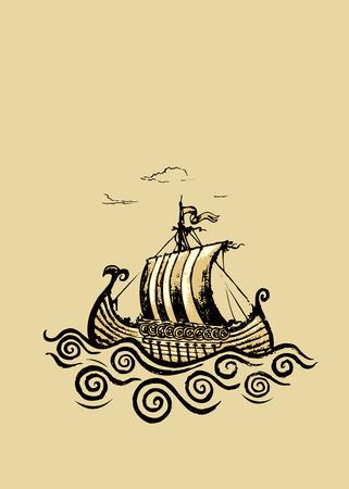 Viking ship.Pencil drawing illustration. Illustration