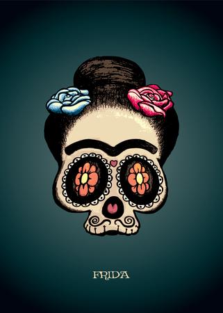 dia de muertos: Frida.Mexican retrato del cr�neo del az�car de Frida Kahlo