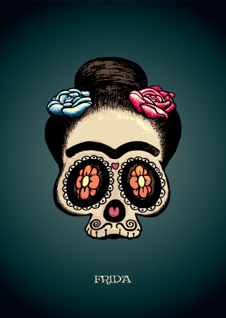 girl: Frida.Mexican sugar skull portrait of Frida Kahlo