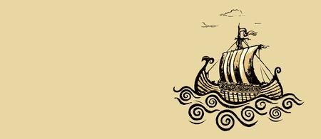 drakkar: Viking ship.Pencil drawing illustration