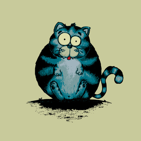 moggy: Fat cat.Funny looking character,isolated illustration.