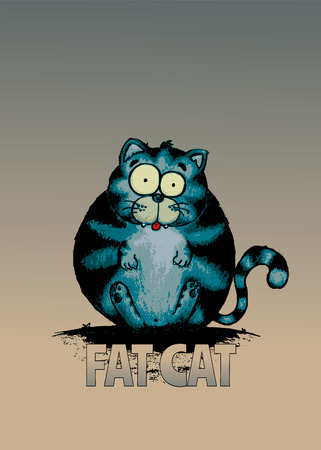 moggy: Fat cat.Funny looking character illustration.