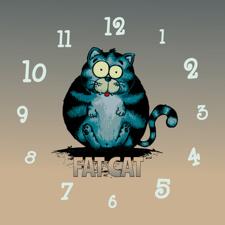 Fat cat.Funny looking character illustration.Clock pattern
