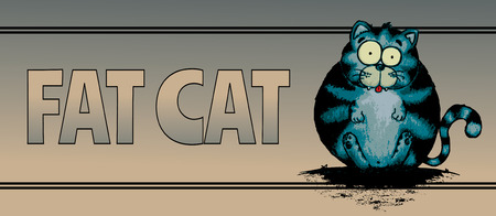 oversize: Fat cat.Funny looking character illustration.Horizontal banner design Illustration