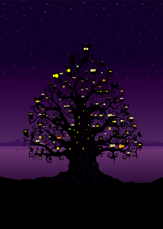 spooky tree: Spooky tree filled with different creatures.Imaginary night scene illustration