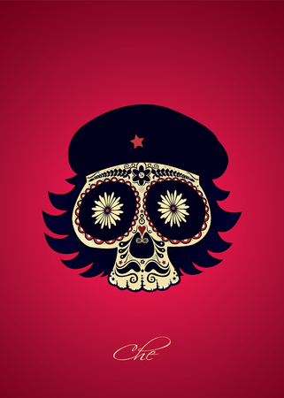 Sugar skull portrait of Ernesto Guevara