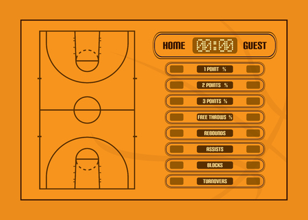 court: Basketball game report.Basketball court and game statistics vector illustration