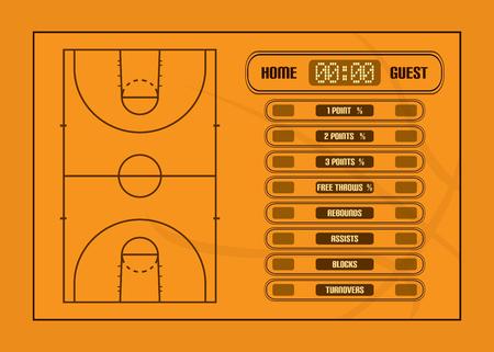 canestro basket: Partita di basket illustrazione report.Basketball giudiziali e di gioco statistiche vettore Vettoriali