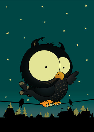 pegs: Little owl.Cute and sweet looking cartoon character.Night scene with stars,roofs and trees.