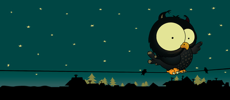 Little owl.Cute and sweet looking cartoon character.Night scene with stars,roofs and trees.