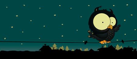Weinig owl.Cute en lief zoekt cartoon character.Night scène met sterren, daken en bomen.