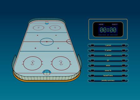 hockey rink: Ice hockey rink, scoreboard and game statistic vector illustration Illustration