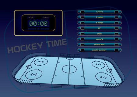 rink: Ice hockey rink, scoreboard and game statistic vector illustration Illustration