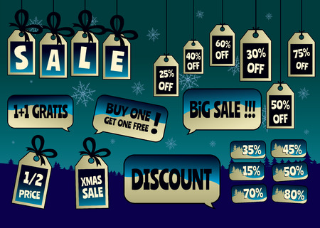 pricetag: Christmas discount sale tags and labels set.Isolated vector illustration Illustration