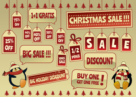 pricetag: Christmas discount sale tags and labels set.Isolated vector illustration with two cute penguins