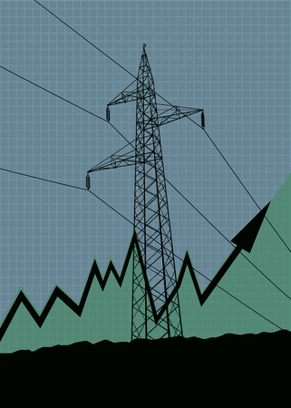 energy production: Electric energy production or price growth vector illustration with up arrow and high voltage power lines silhouette. Illustration